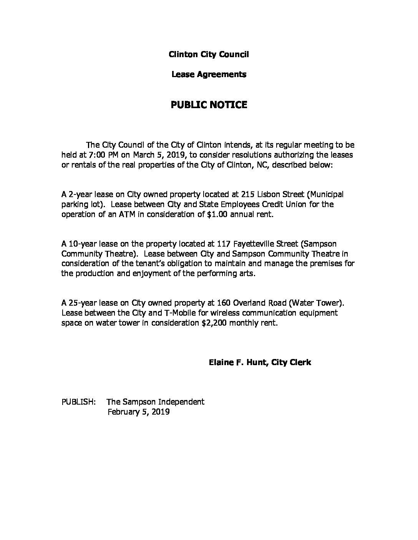 Clinton City Council Lease Agreements Public Notice 020519 Sampson