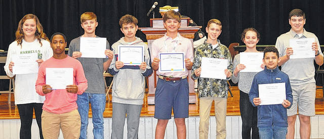 HCA Geography Bee Finalists pictured from left: Georgia Pope, Tyler Johnson, Rhodes Spears, Evan Boussias, Hudson Griffin, Joesen Pope, Kailey Pope, Luis Funes and Josh deAndrade. Courtesy photo|HCA