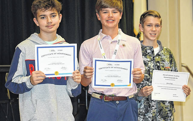 Winners are pictured from left: Evan Boussias in third place, Hudson Griffin in first place and Joesen Pope in second place. Courtesy photo|HCA