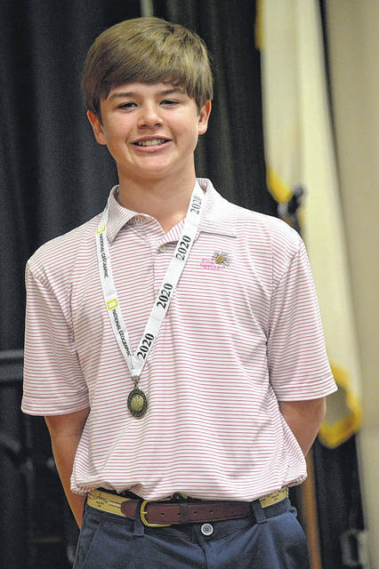 Hudson Griffin of Clinton receives first place at the Geography Bee. Courtesy photo|HCA