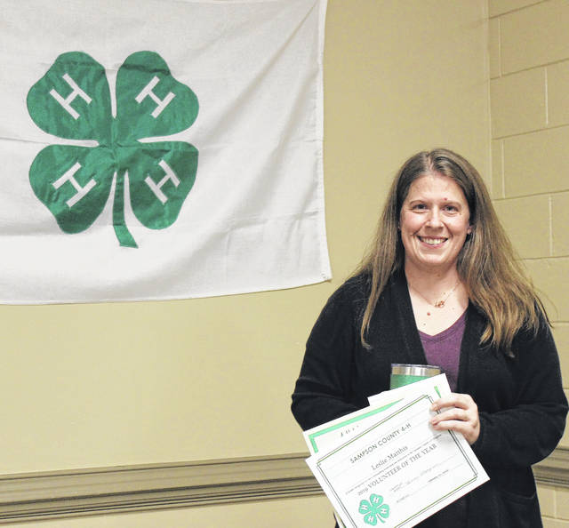 Leslie Matthis is honored as the 4-H Volunteer of the Year.