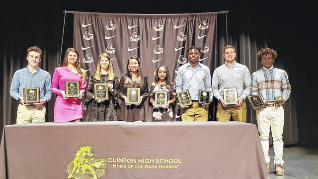 Kayla Yang was honored as a Clinton High School Fall MVP for women's golf. Pictured, from left, are: Harrison Williams, Isabella Faison, Taylor Spell, Yang, Cristal Ortiz, Jatiyuhn Wilson, Reid Walters and J'Daques Wallace. File Photo | Sampson Independent
