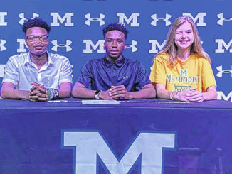 Jaden Covington, Deantae Byrd, and Kaylah Jackson sign to play for Methodist. They represent Midway Football and Midway Girls Basketball.
