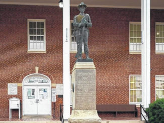 A monument for Confederate soldiers sits in front of the Sampson County Courthouse in Clinton.