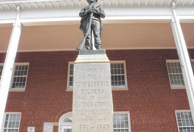 The future of a statue honoring the Confederate soldiers of Sampson County, which stands outside the county's courthouse and has since been damaged, will be under discussion by county leaders on Monday.