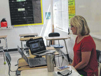 One teacher prepares for her remote students.