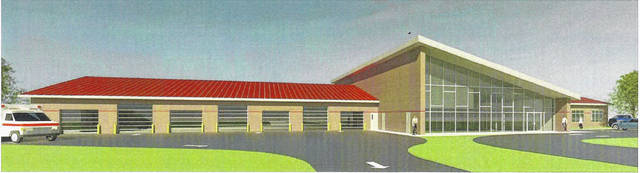 A rough look at the proposed Emergency Management Services building, which would be located on Commerce Street.