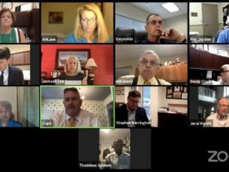 The Sampson County Board of Commissioners, county staff and stakeholders meet via Zoom earlier this week.