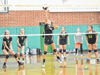 Izzy Bradshaw (center) hits the ball over the net to score a point for the Crusaders.