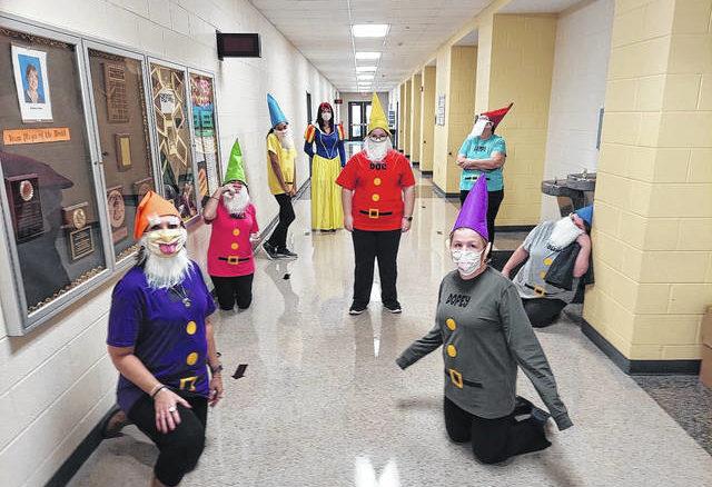 Teachers at Roseboro Elementary School dress up as Snow White and the Seven Dwarfs.