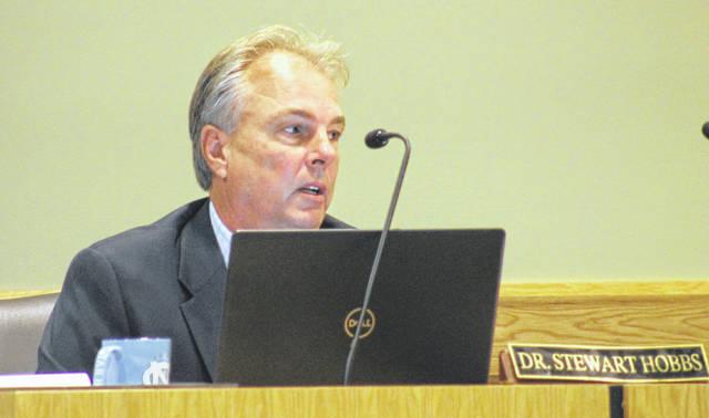 Interim Superintendent Stewart Hobbs speaks to board members about COVID-19 challenges.