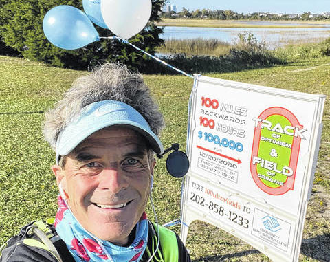 Tracy McCullen promotes his fundraising run, which will extend 100 miles backwards in 100 hours.