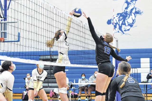 <p>Makenzi Hudson and Zana Barefoot battle at the net for a score during a match between Clinton and Midway last month. Volleyball teams have been fairly unscathed from COVID's impact.</p>