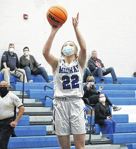 <p>Midway's Riley Williams goes up for a layup under the basket in a game last week. Face coverings are now commonplace for participants in all athletics.</p>