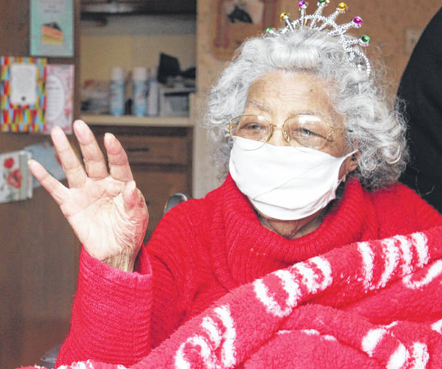 <p>Bertha Johnson Armstrong greets community members during her 95th birthday.</p>                                  <p>Chase Jordan Sampson Independent</p>