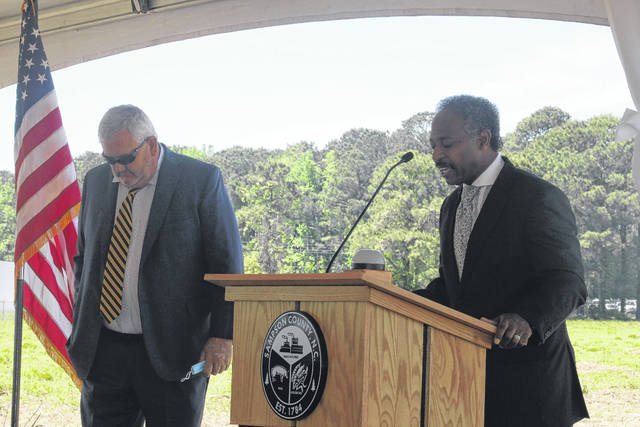 Sampson Board of Commissioners Chairman Clark Wooten, left, opened the groundbreaking ceremony, and Commissioner Thaddeus L. Godwin opened with the invocation.                                  Emily M. Williams | Sampson Independent