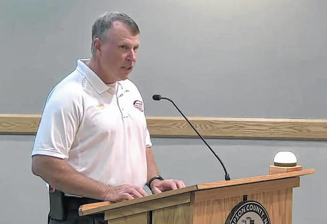 Taylors Bridge Fire Chief Alan Williams addresses the Sampson County Board of Commissioners regarding a request made for six additional paramedics, which is currently not included in the county's 2021-22 budget.