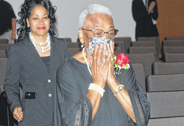 Mrs. Hazel Colwell walking in with shock at the start of her ceremony.                                  Michael B. Hardison | Sampson Independent