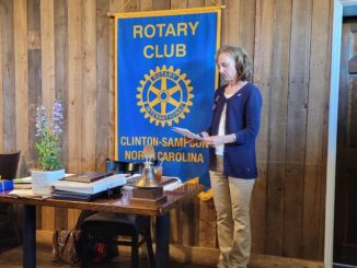 Outgoing Clinton-Sampson Rotary President Eileen Coite expresses her appreciation for the teamwork that allowed the local Rotary Club to keep moving during 'a very difficult year,' with COVID restrictions forcing members online for much of the time. 'But despite it all, we have grown and done some good things, all of which I'm thankful for,' Coite said.                                  Sherry Matthews|Sampson Independent