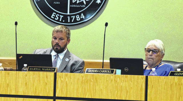 Daryll Warren, left, was voted in as board chair at the Sampson County Board of Education meeting Monday night. Sandra Carroll, right, retained her seat as vice-chair.