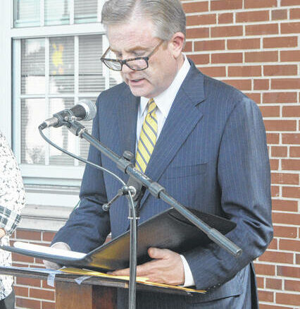 Mayor Lew Starling reads a proclamation acknowledging the start of Constitution Week, which kicked off Friday.