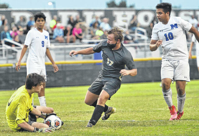 A would-be strike by Clinton's Trent Sumner is scooped up by Midway goalkeeper Jake Hammond in a match last week. The Clinton City Schools Board of Education addressed athletics in general, and discussed the need for quarantining consistency, regardless of setting.