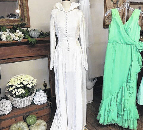 Wedding and other dresses will be on display for their sewing exhibit.                                  Courtesy photo